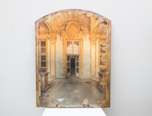 Palace Entrance on Glass with gold and copper leaf