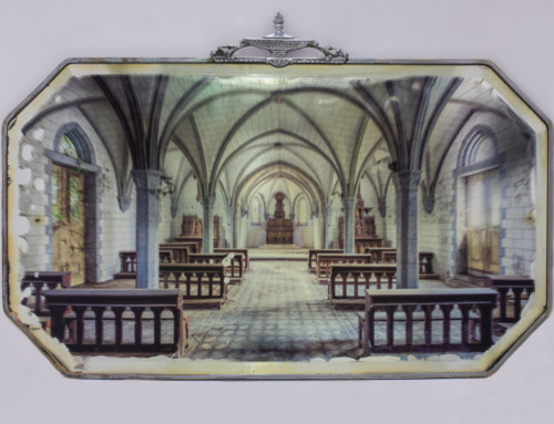 Abandoned church on antique mirror